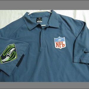 XL Blue Nike DRI-Fit Seahawks MENS Poly #77K Polo